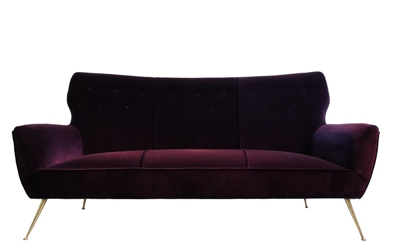 Italian 3 Seater Aubergine Velvet Sofa with Brass Feet, 1950s