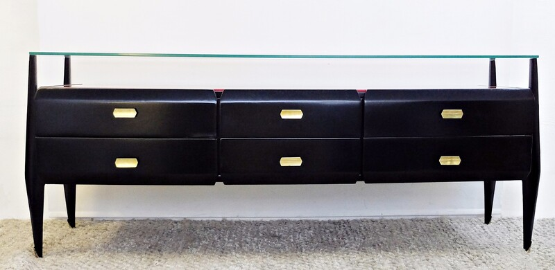 Italian Black & Red glass Sideboard
