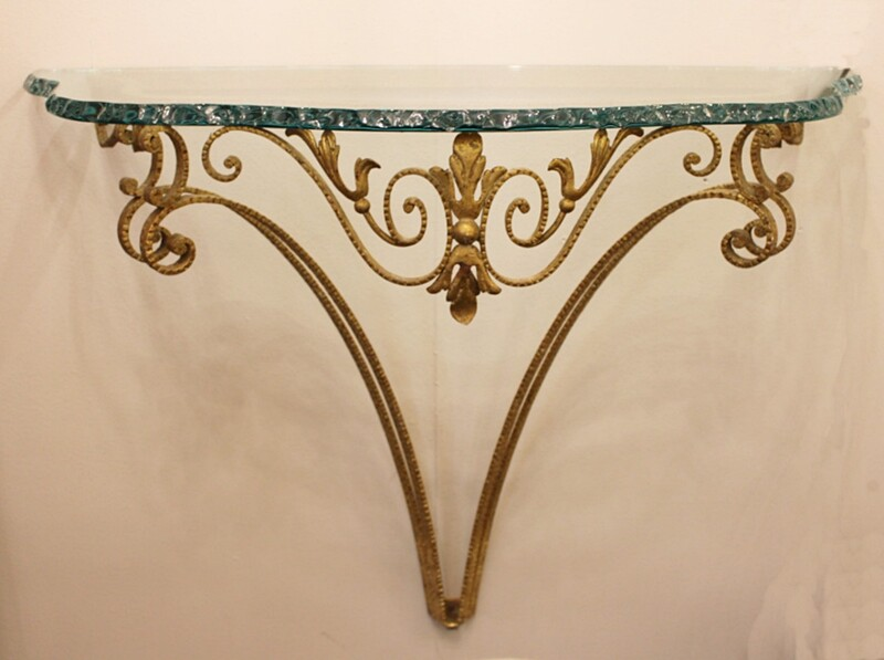 Italian brass and glass console att. to Pier Luigi Colli