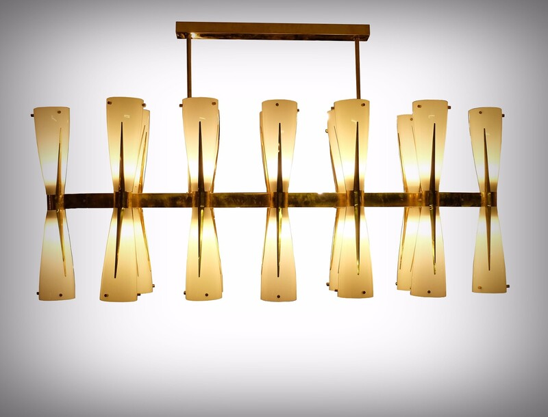Italian Brass and Opaline Glass Chandelier