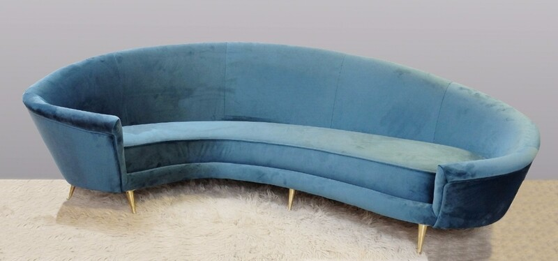 italian Curved Sofa, New Upholstery & Small Typical Brass Legs
