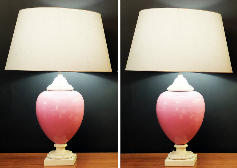 italian Egg Shaped lamp - Travertin & pink ceramic 1970/80