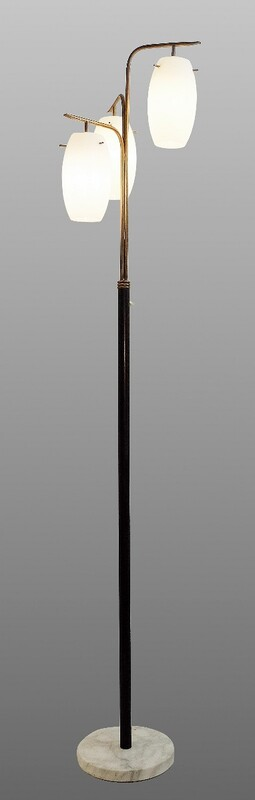 Italian floor lamp marble base, varnished tubular steel, brass&frosted 3 opaline glasses