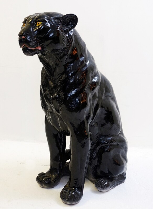 Italian Glazed Terracotta black panther