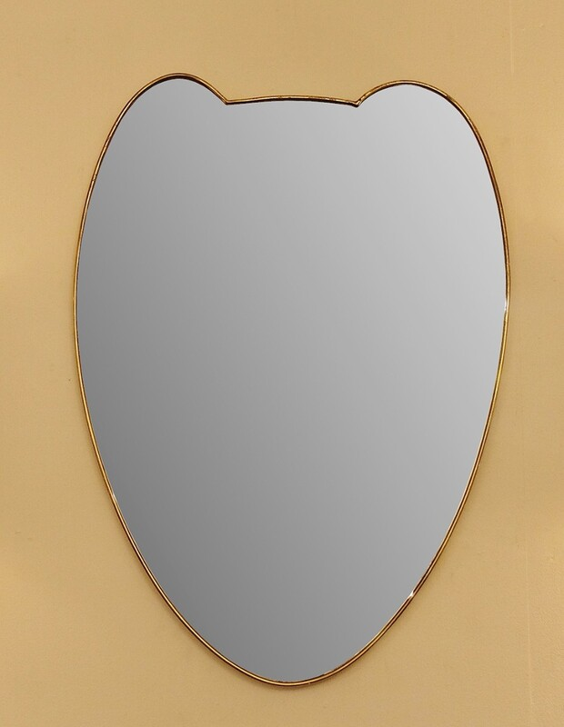 Italian Large Brass Wall Mirror, 1950s