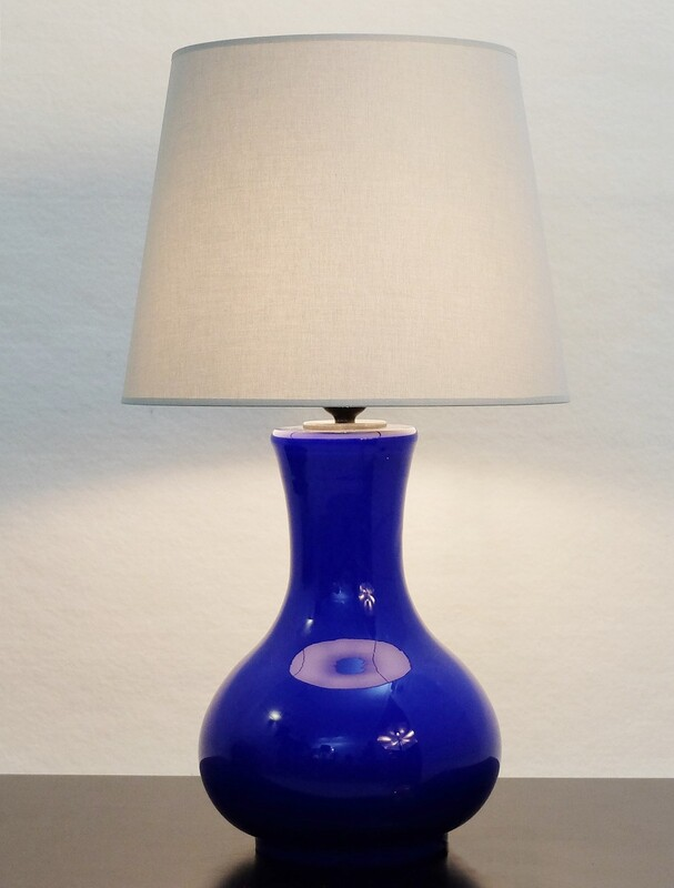 Italian Murano Glass Cobalt Blue Table Lamp