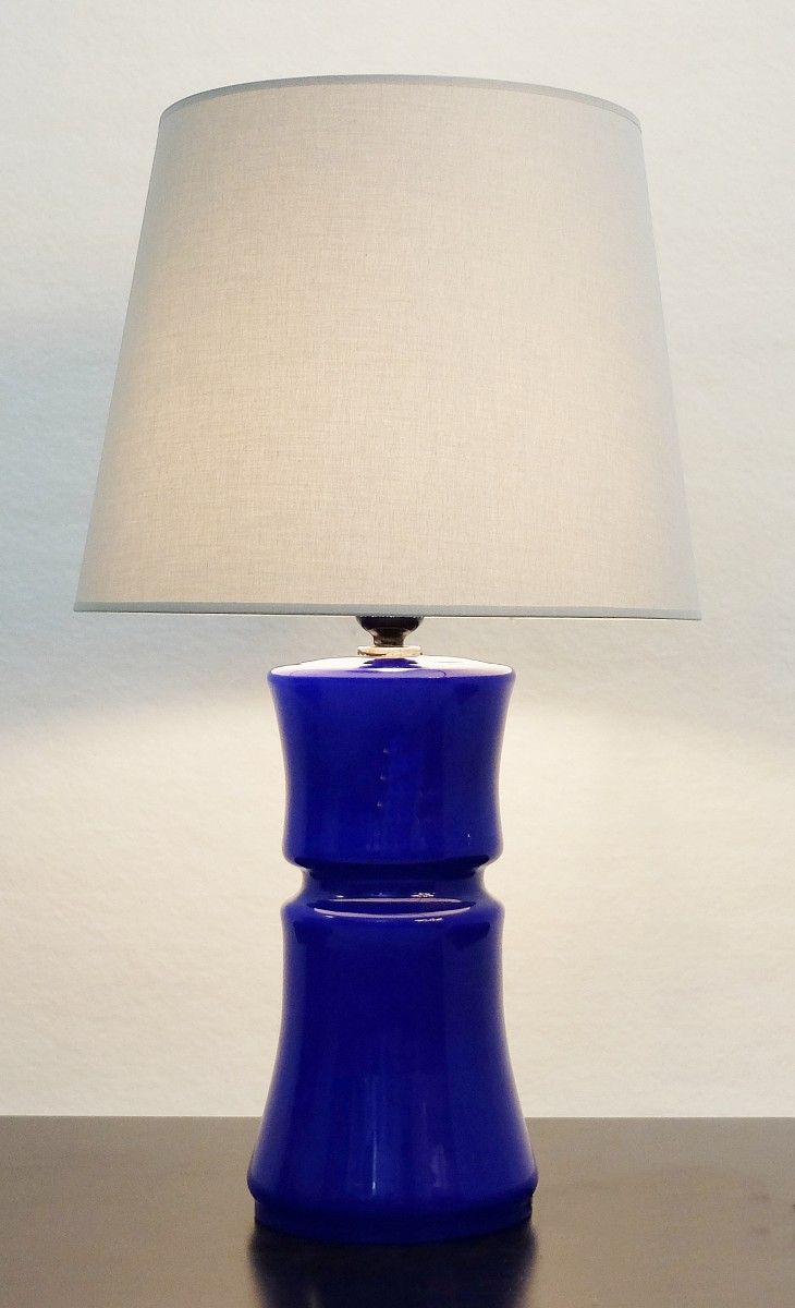 Italian Murano Glass Cobalt Blue Table Lamp   Several Available