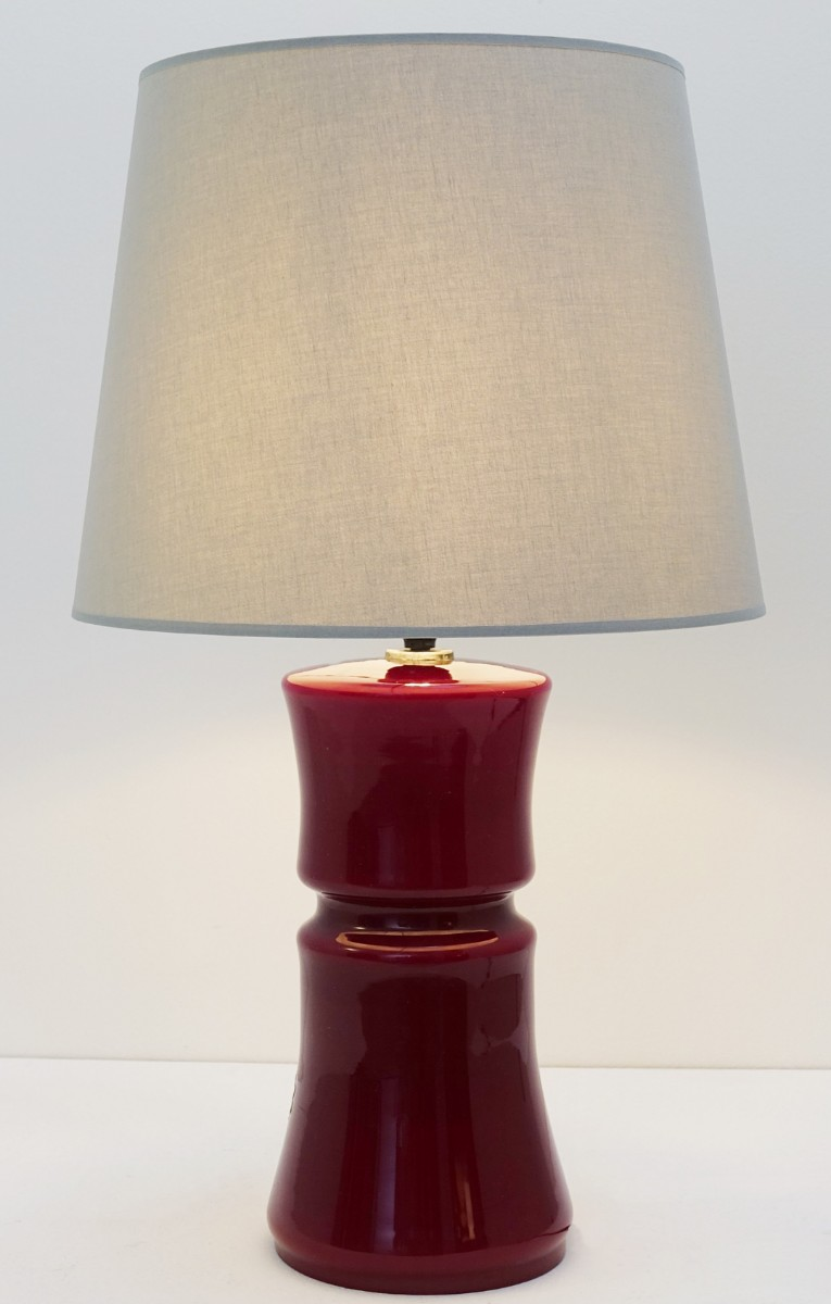 Italian Murano Gl Dark Red Table Lamp