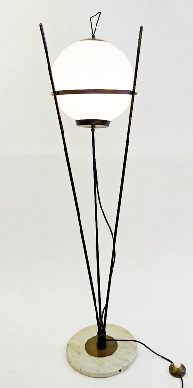 Italian Opaline Glass Floor Lamp