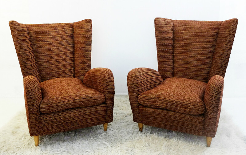 Italian Pair of Armchairs in the Style of Paolo Buffa  - New Upholstery
