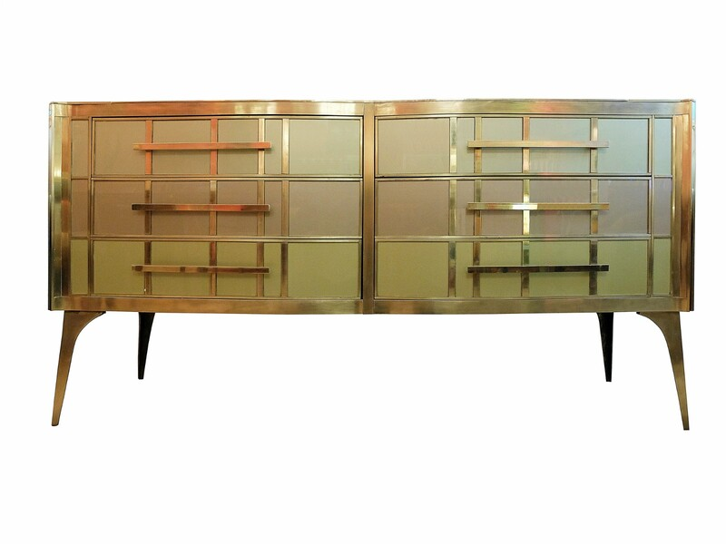 Italian Pastel Colored Glass and brass sideboard