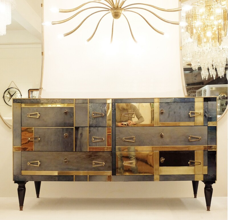 Italian pearl glass and brass chest of drawers