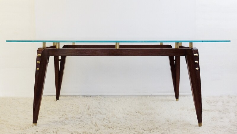 Italian Rosewood, Brass & Glass Table/Desk