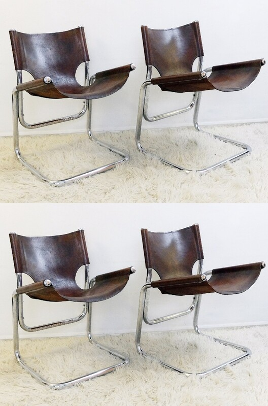 Italian Set of Four Chrome and brown Leather Chairs