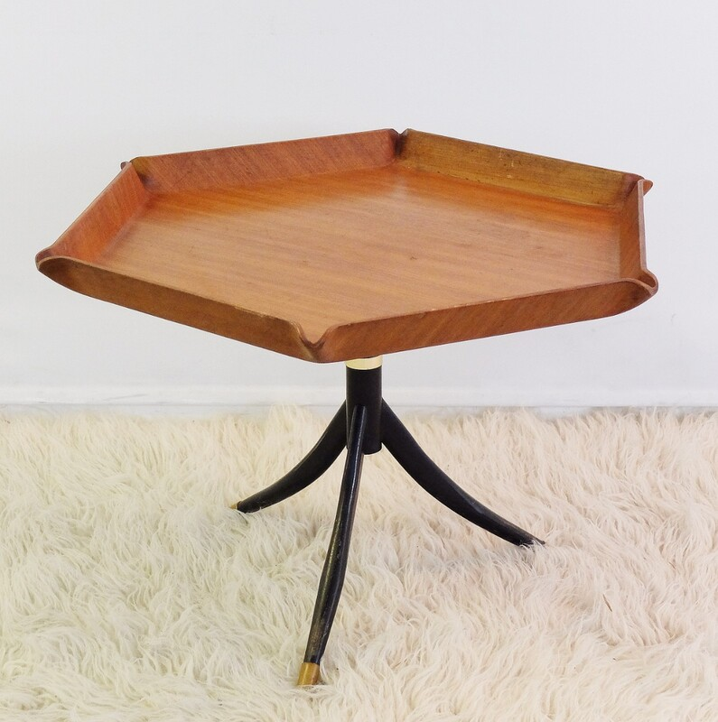 Italian Teak Hexagonal Coffee Table by A. Tura, 1950s