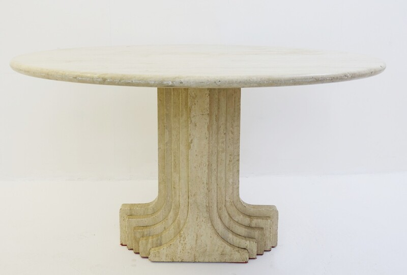 Italian travertine dining table by carlo scarpa with a carved fluted architectural base