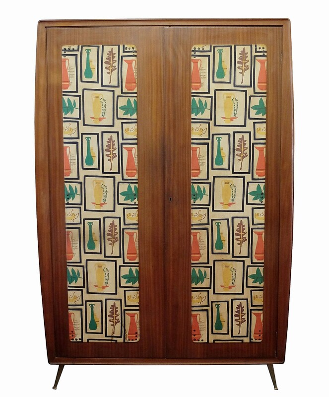Italian wardrobe with two original fabric covered doors