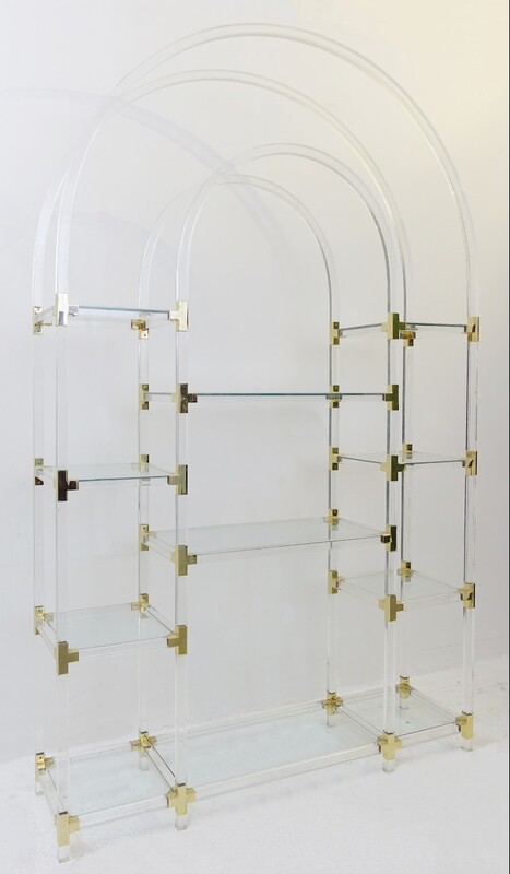 Jonathan Adler style lucite and glass arc Shelving