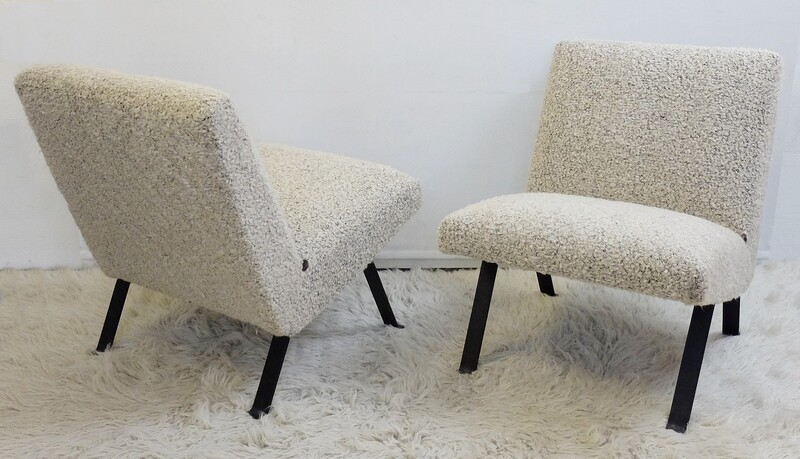 Joseph André Motte Pair of chairs 740 (1957-58) Steiner edition- Newly Upholstered