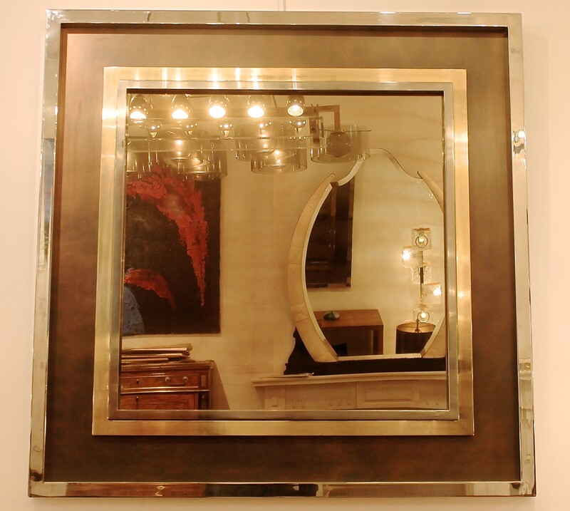 Large 1970's Chrome Framed Smoked Mirror