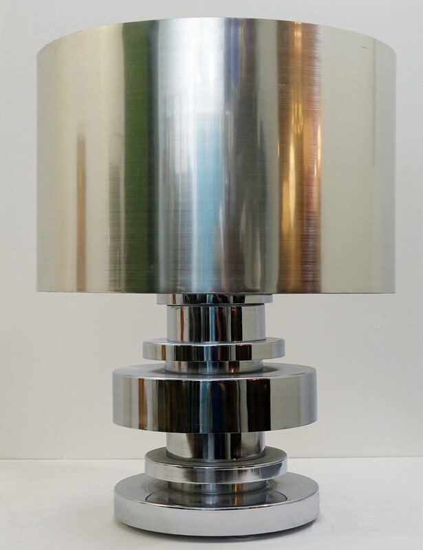 Large 1970's silver Chrome Table Lamp