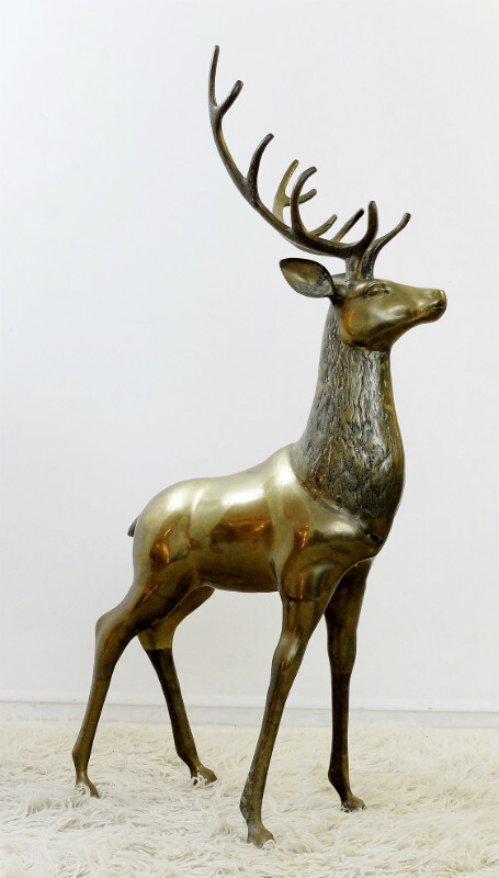 Large Brass Deer Sculpture