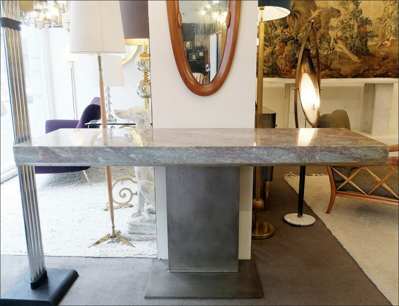 large console table with pink marble top
