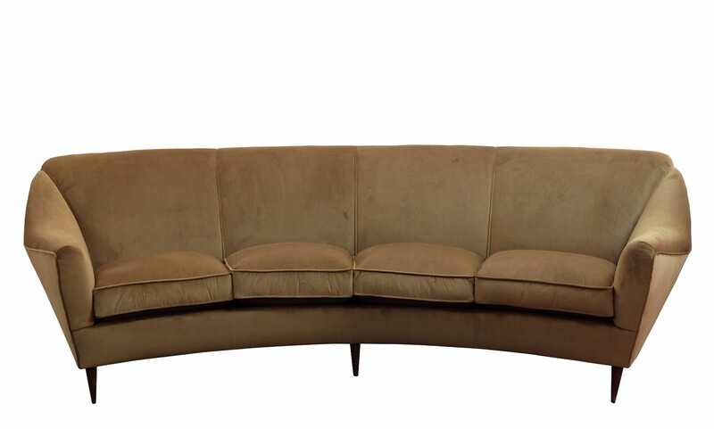 large curved 4 seater Italian sofa - Newly upholstered in
