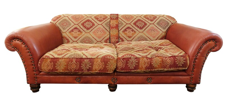 Large English Tetrad sofa in buffalo leather and kilim