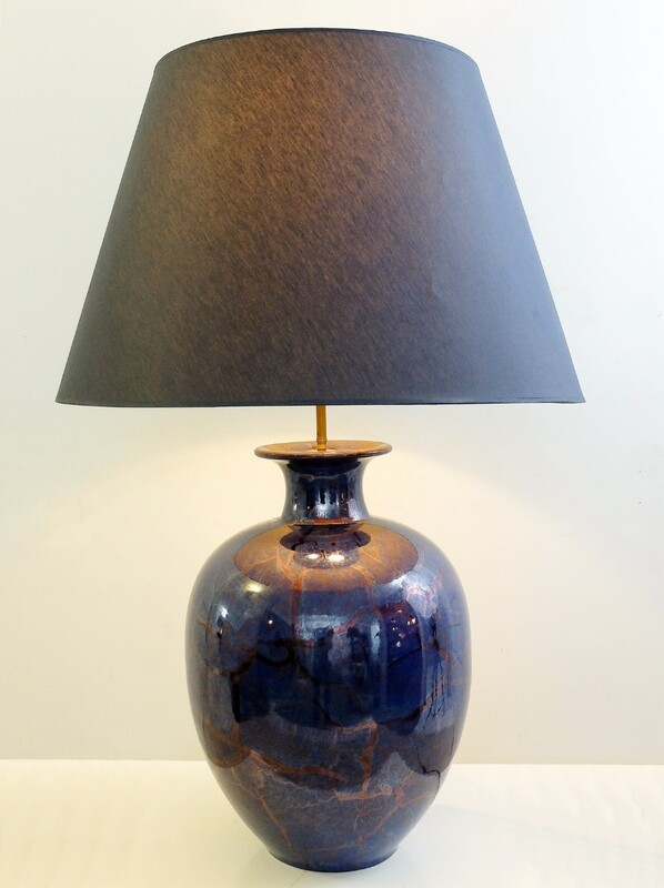 Large iridescent Blue Ceramic Lamp