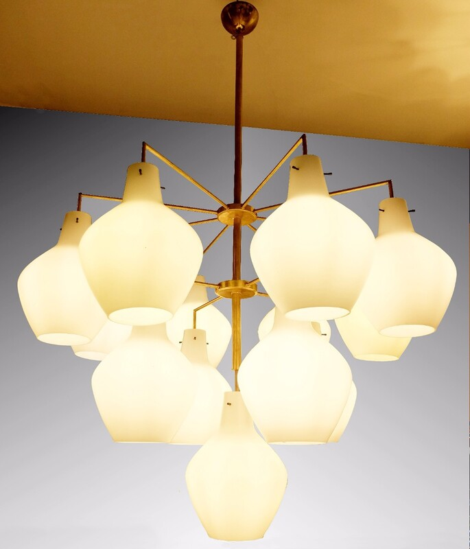 Large Italian Brass Chandelier with 13 Opaline Glass Shades