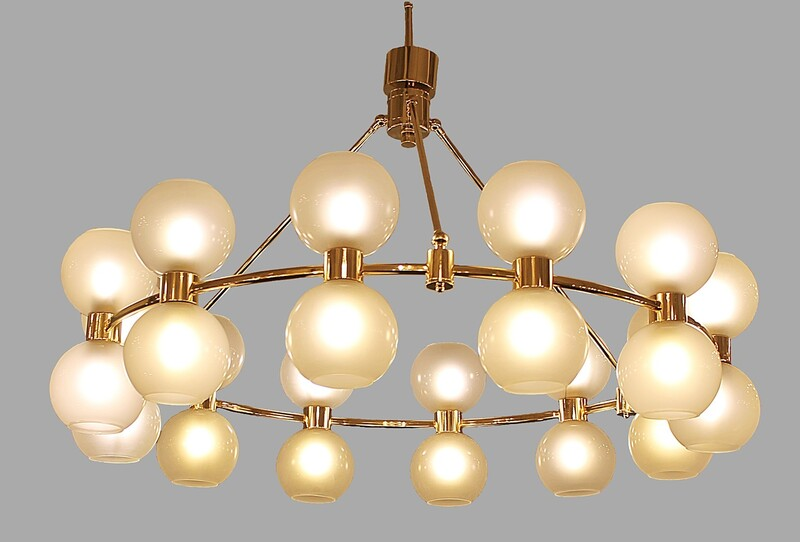large italian Crown Chandelier - brass & opaline - italy - 2 available