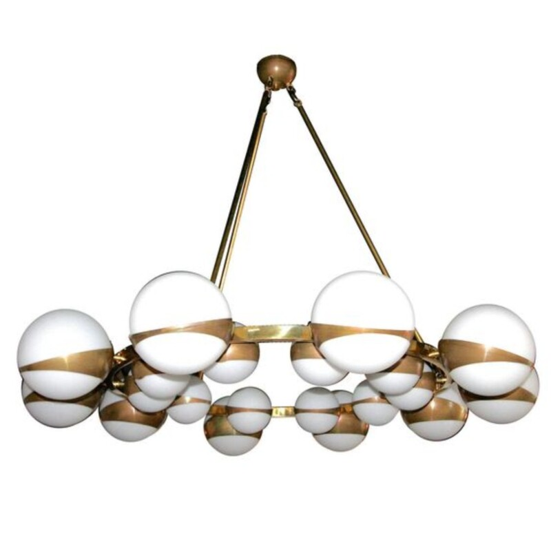 large italian Crown Chandelier - brass & opalines