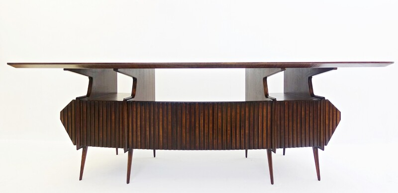 large italian Rosewood Desk with brown glass top