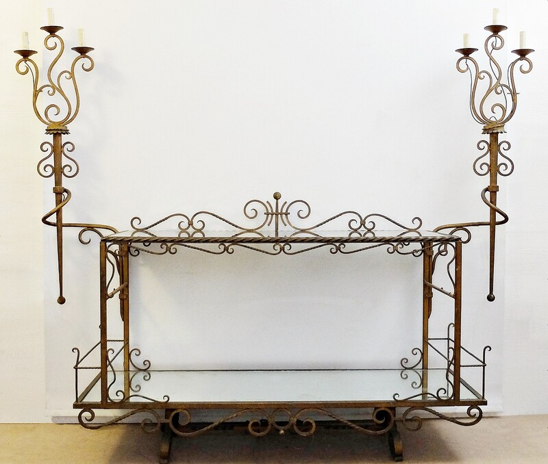 large Italian Wrought Iron Console with two mirror Tops