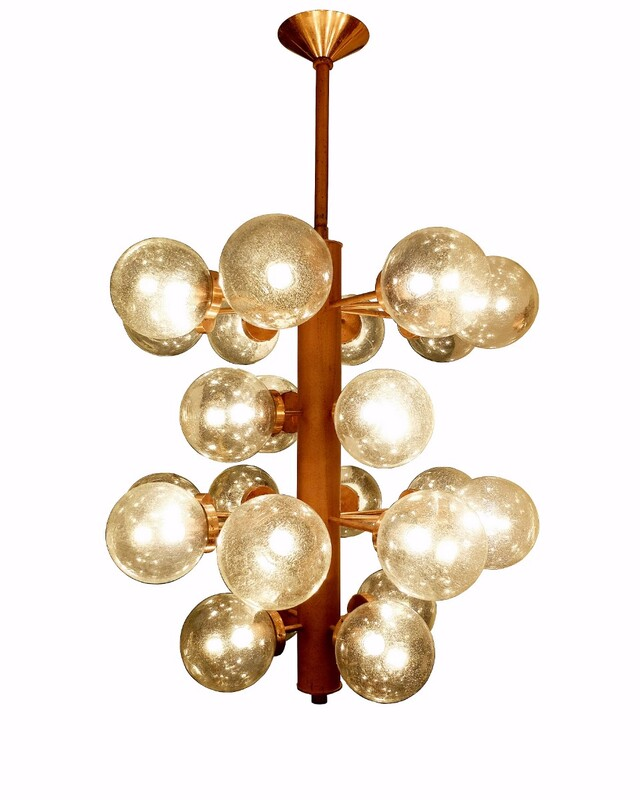 Large Metal Czech Chandelier with 24 Glass Spheres