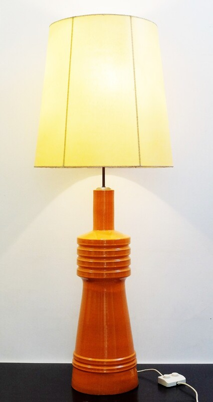 Large Orange ceramic table lamp with Original Shade