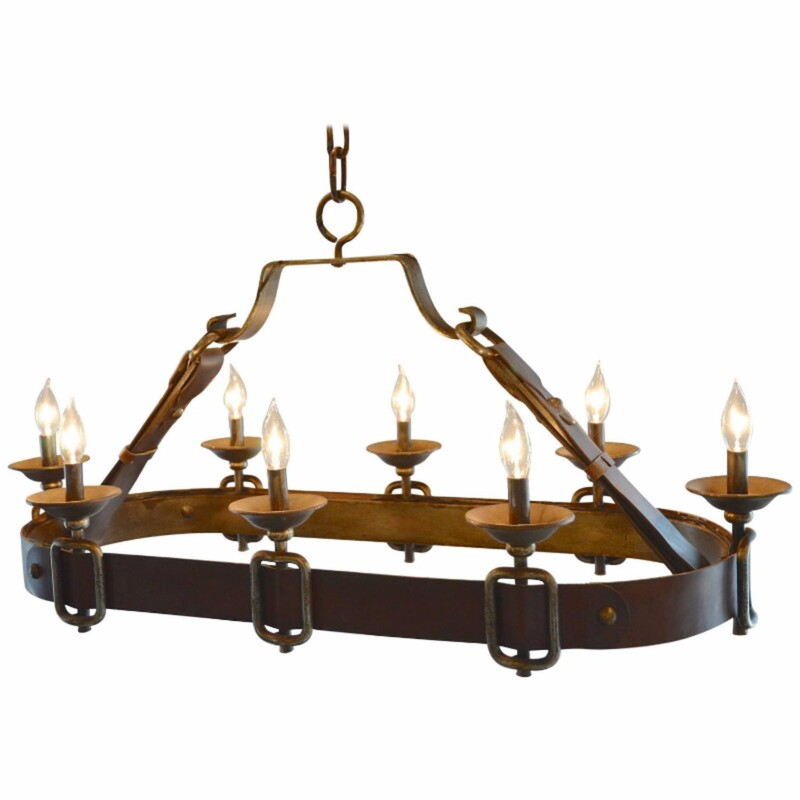 Leather And Iron French Chandelier - C. 1940/50