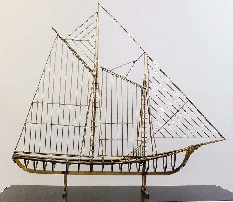 Long Brass 1976 Curtis Jere Sail Boat Sculpture