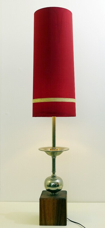 long chrome & wood table lamp with Original Shade