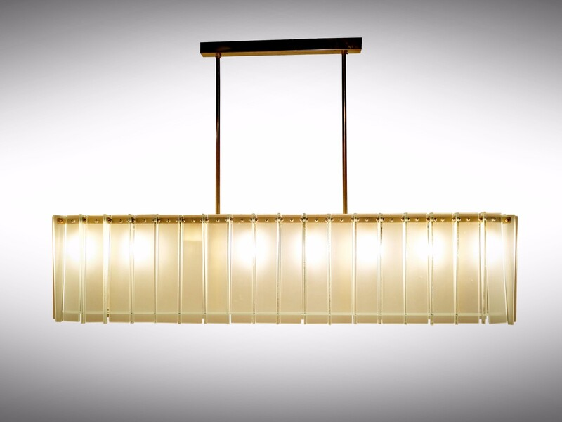 Long Oval italian ceiling light, Max Ingrand style - 2 available
