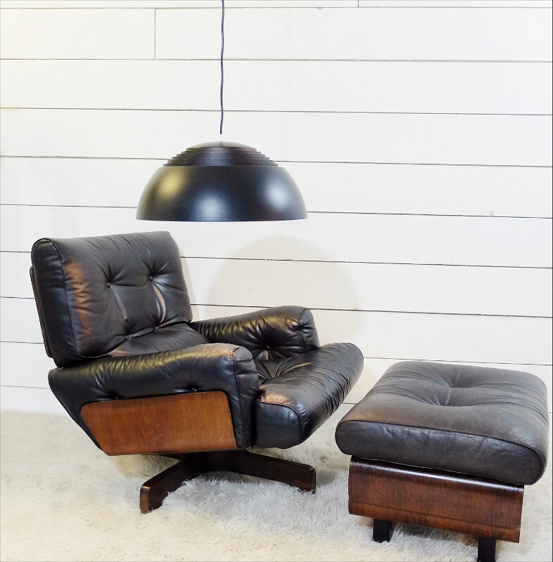 Lounge Chair and Ottoman, Black Leather and wood c. 1970