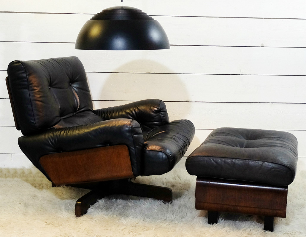 Lounge Chair And Ottoman Black Leather And Wood C 1970