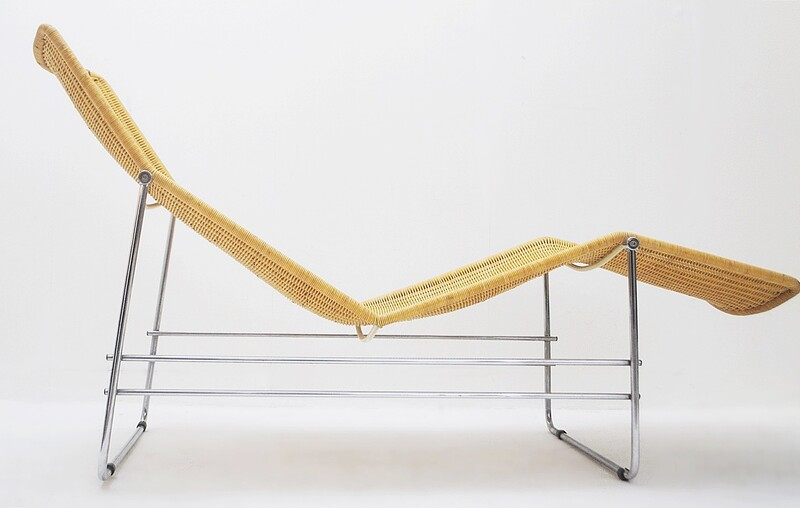 Lounge Chair in Rattan and Metal, circa 1970's
