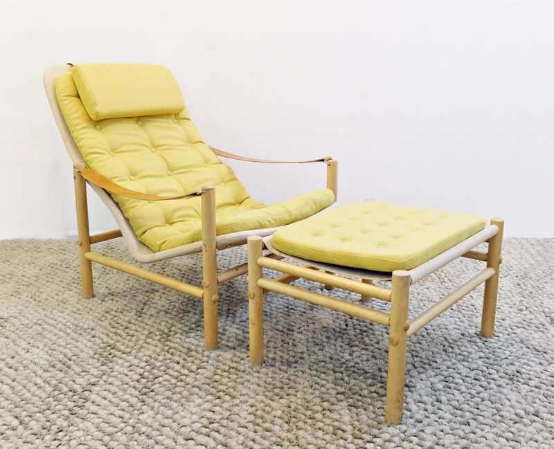 Lounge Chair with Ottoman by Bror Boije for Dux, 1960s - New Upholstery