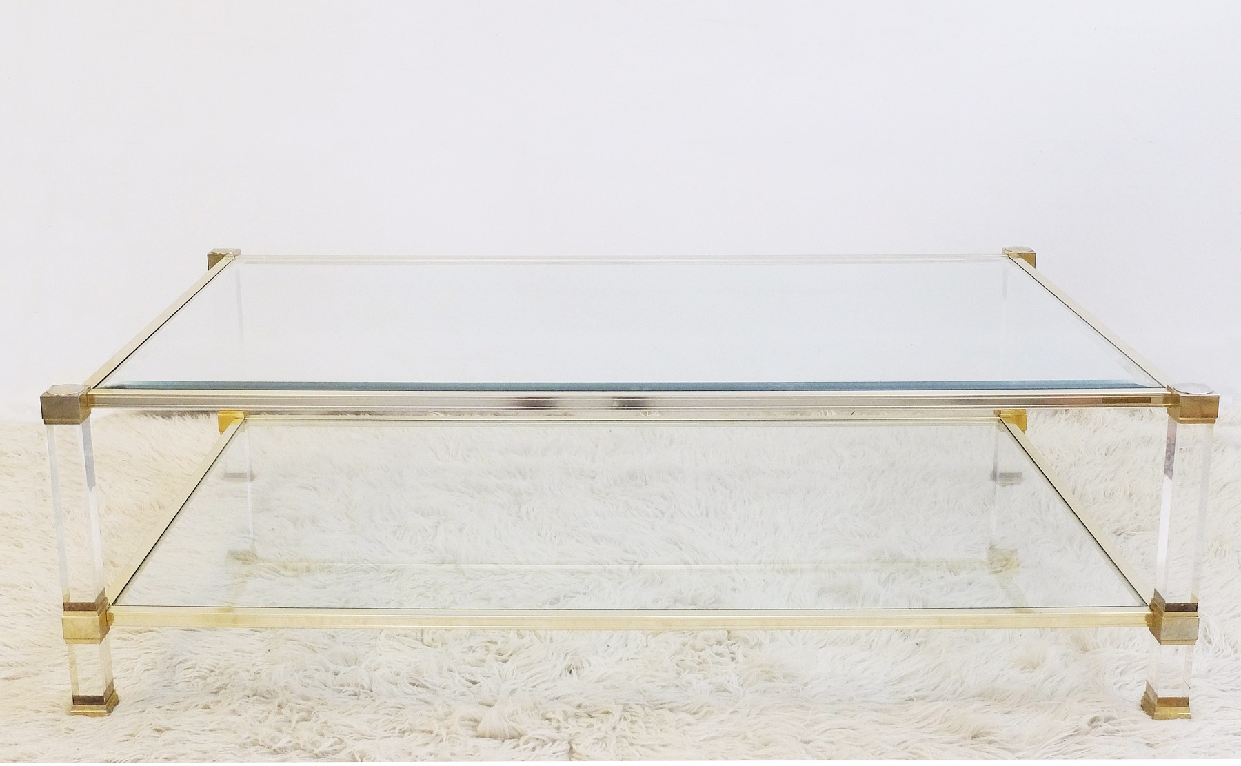 Lucite & Brass Coffee Table by Pierre Vandel Desk Table