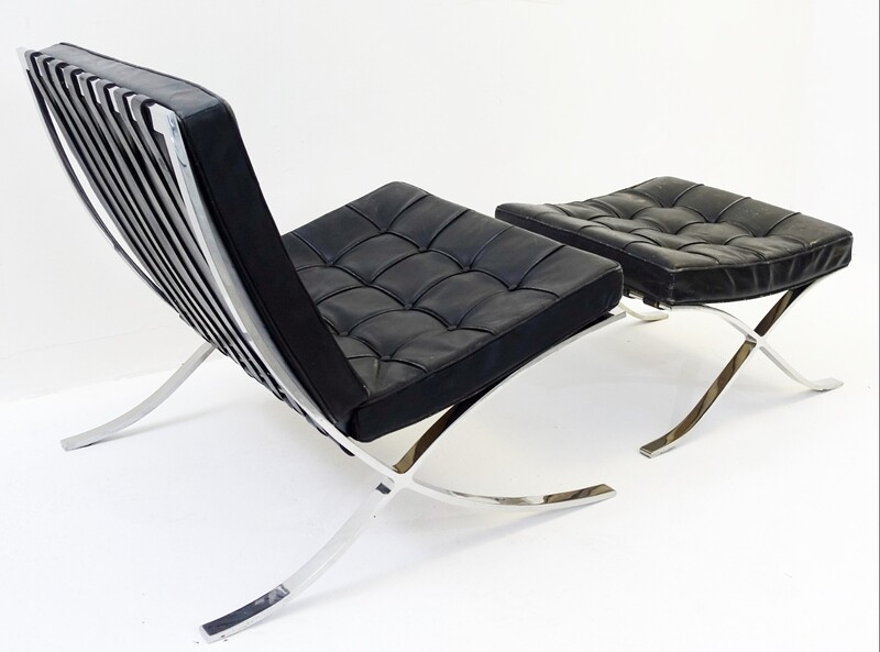 Ludwig Mies van der Rohe Barcelona Chair and Ottoman by Knoll