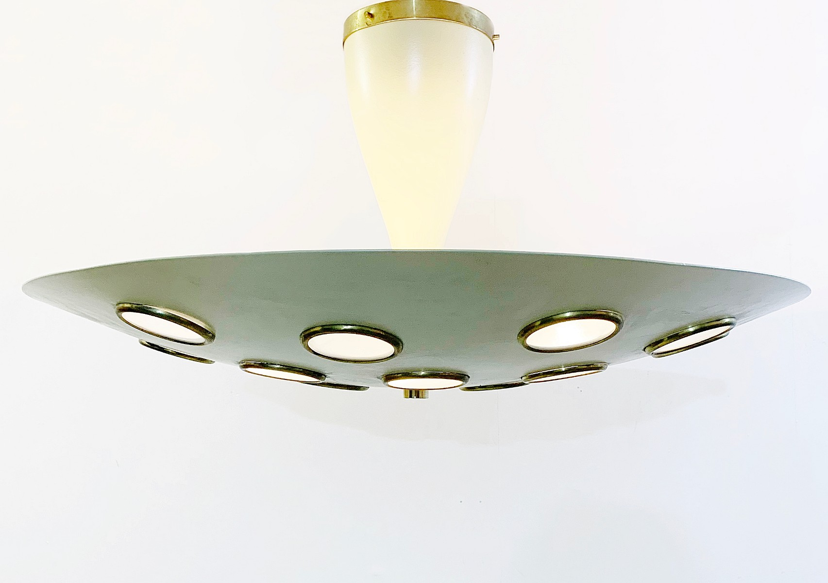 Lumen Italian 1950s Light Fixture With Circular Designs