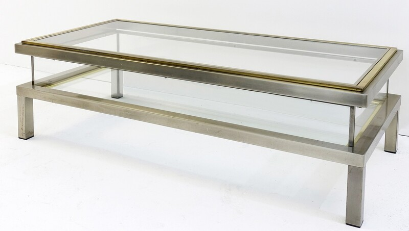 Maison Jansen att. Coffee Table With Interior Display - 1970s french.