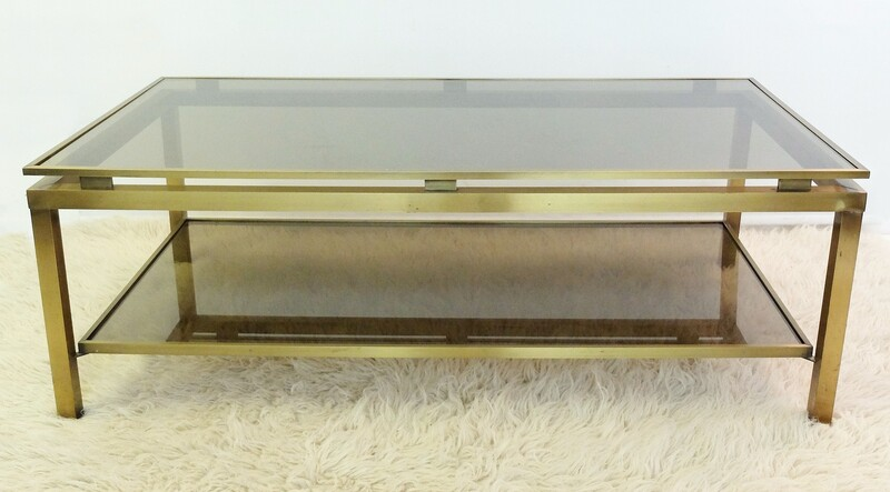 Maison Jansen Brass Coffee Table by Guy Lefevre